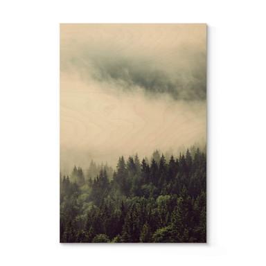 Holzposter Nebel im Wald 02