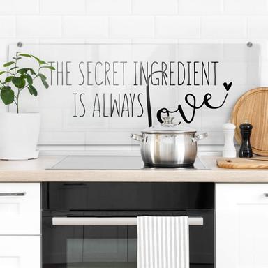 Spritzschutz Transparent - The secret ingredient is always love - Panorama