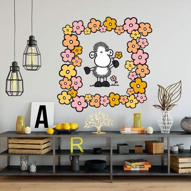 Wandsticker sheepworld Schaf mit Blumen