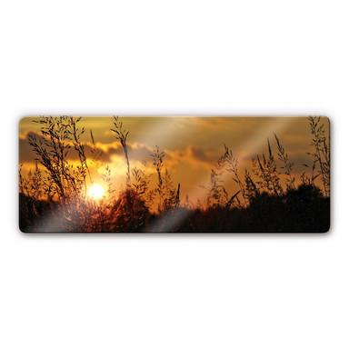 Glasbild Sonnenuntergang Panorama