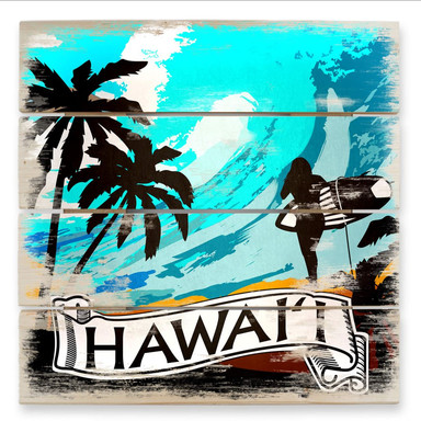 Holzbild Hawaii - Comic Style