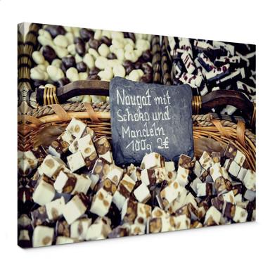 Leinwandbild Nougat mit Schokolade und Mandeln