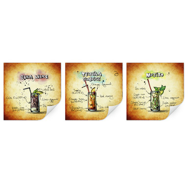 Wallprint Longdrinks Set 01 (3-teilig)