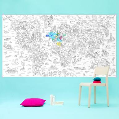 XXL Ausmalposter - Weltkarte 180x100cm