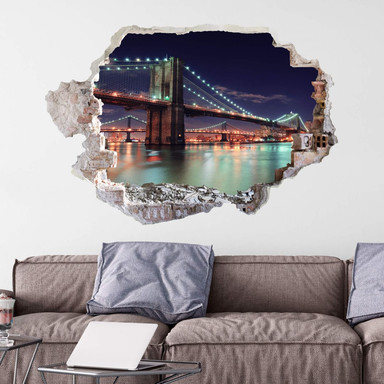 3D Wandtattoo Manhattan Bridge at Night 2