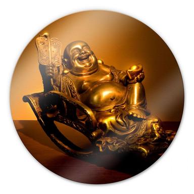 Glasbild Happy Buddha - rund