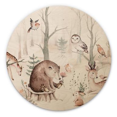 Holzbild Kvilis - Tierfreunde im Wald - Rund