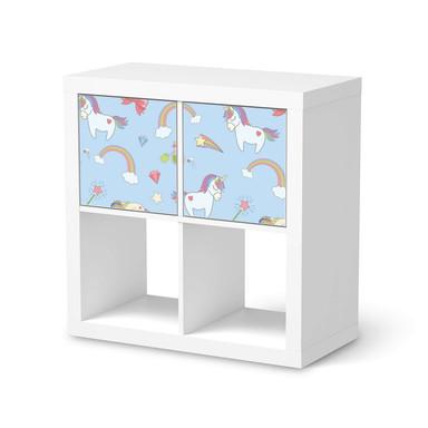 Möbel Klebefolie IKEA Expedit Regal 2 Türen (quer) - Rainbow Unicorn- Bild 1