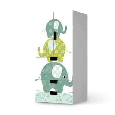 Möbelfolie IKEA Stuva / Malad - 3 Schubladen und 2 kleine Türen - Elephants