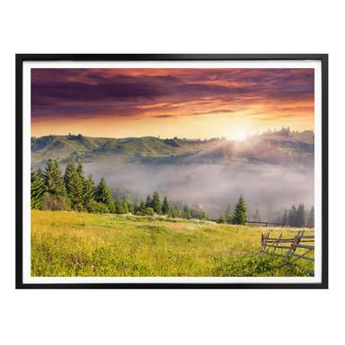 Poster Bergtal im Nebel