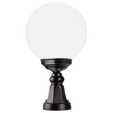 Sockelleuchte Schwarz, Aluguss, Opal Acrylglas, E27. IP43. 400x250mm