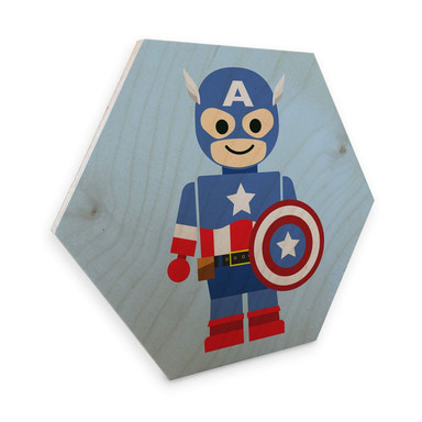 Hexagon - Holz Birke-Furnier Gomes - Captain America Spielzeug