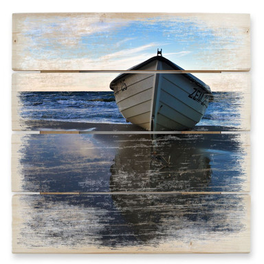 Holzbild Einsames Boot am Ufer