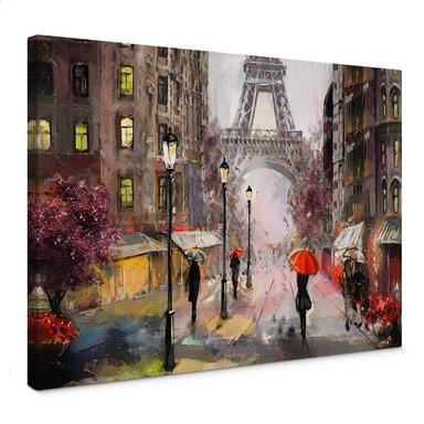 Leinwandbild Roter Schirm in Paris Aquarell