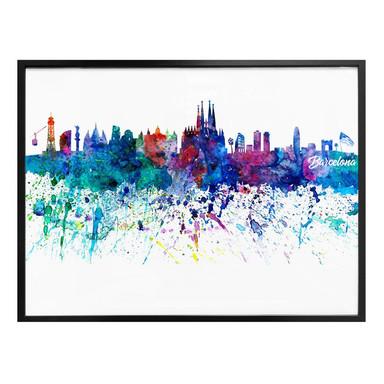 Poster Bleichner - Barcelona Aquarell Skyline