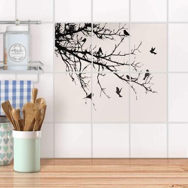 Fliesenaufkleber hoch - Tree and Birds 1