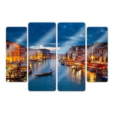 Glasbild Beleuchtetes Venedig (4-teilig)