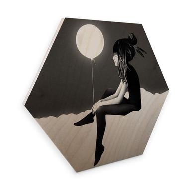Hexagon - Holz Birke-Furnier - Ireland - No such thing as nothing by night - leuchtender Ballon