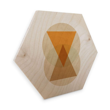 Hexagon - Holz Birke-Furnier Nouveauprints - Circles and triangles orange and brown