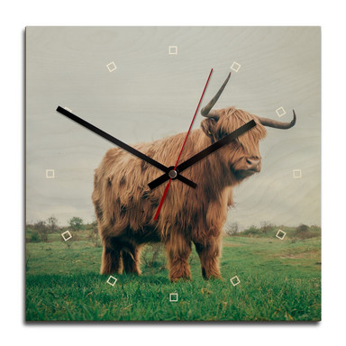 Holz-Wanduhr - Highland Cow 03