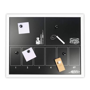 Magnettafel schwarz mit Kreide und Magneten - 40x50cm
