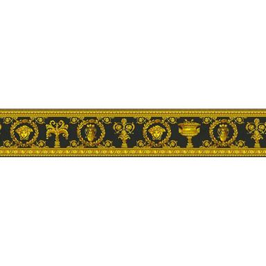 Versace wallpaper Bordüre Vanitas gelb, metallic, schwarz