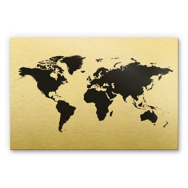 Alu-Dibond-Goldeffekt - Weltkarte 01