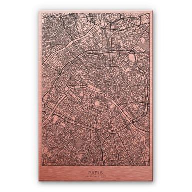 Alu-Dibond-Kupfereffekt Stadtplan Paris
