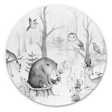 Alu-Dibond Kvilis - Tierfreunde im Wald schwarz-weiss - Rund
