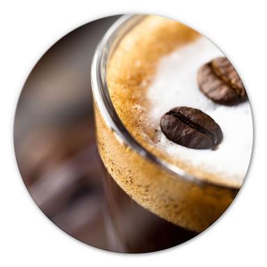 Glasbild Coffee 2 - rund