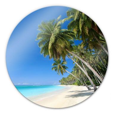 Glasbild Paradise Beach - rund