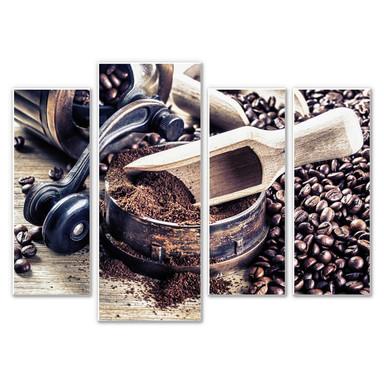Hartschaumbild Kaffeeduft (4-teilig)