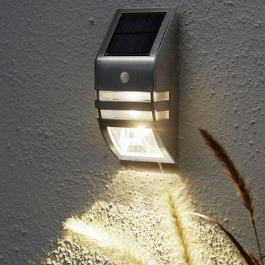 LED Solar Wandleuchte Wally, Silber, mit Bewegungsmelder