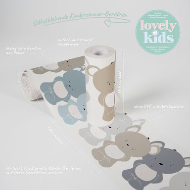 Lovely Kids selbstklebende Kinderzimmer Bordüre Cute Bears mit süssen Bären