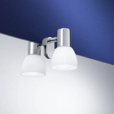 Spiegelleuchte, chrom, Glas, opal-matt, 1-flammig, E14