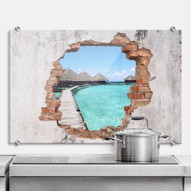 Spritzschutz 3D Optik - Strandhaus Malediven
