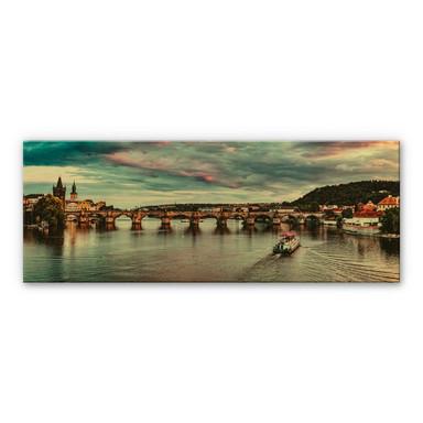 Alu-Dibond mit Goldeffekt Sonnenuntergang in Prag