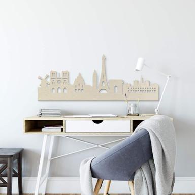 Holzkunst Pappel Furnier - Skyline Paris