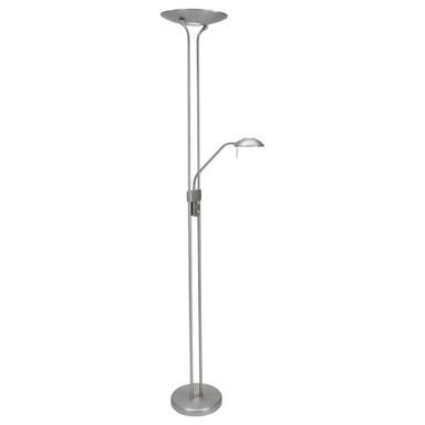 LED Stehleuchte Biron in Silber und Weiss 23W 2000lm mit Lesearm