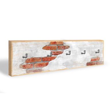 Schlüsselbrett Backsteinmauer & 5 Haken