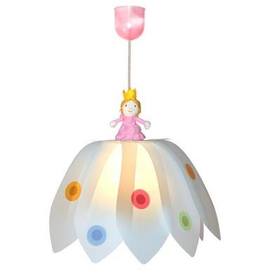 Schöne Pendelleuchte Blüte Prinzessin weiss/bunt 1-flg.