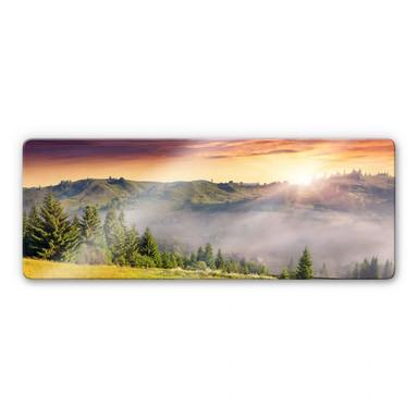 Glasbild Bergtal im Nebel Panorama
