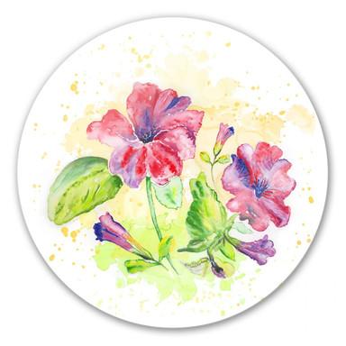 Glasbild Toetzke - Leuchtender Blütenkelch - rund