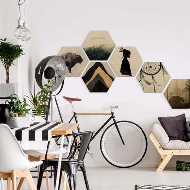 Hexagon - Holz Birke-Furnier - Bohemian Kultur 01 (6er Set) - Bild 1