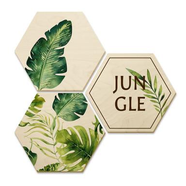 Hexagon - Holz Birke-Furnier - Kvilis - Jungle (3er Set)