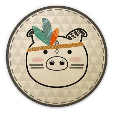 Holzbild - Indianer-Schwein - Rund