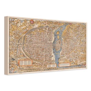 Leinwandbild Historische Karte von Paris