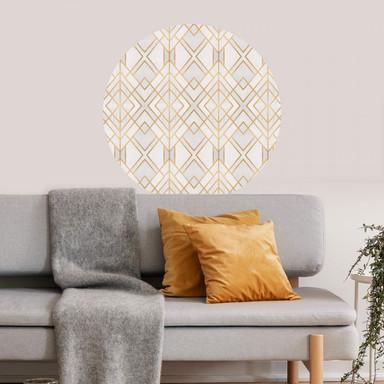 Wandtattoo Fredriksson - Art Deco: Goldene Geometrie - rund