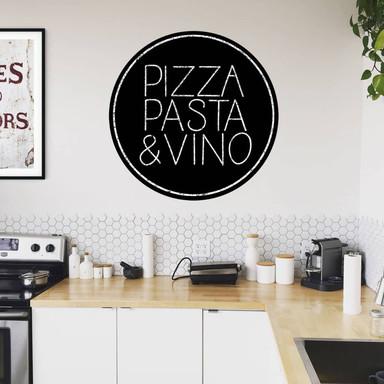 Wandtattoo Pizza Pasta und Vino - Rund