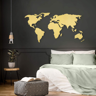 Alu-Dibond Goldeffekt 3D Weltkarte